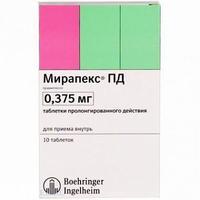 Мирапекс пд таб. пролонг. действ. 0,375 мг №10