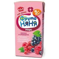 Морс ФрутоНяНя из малины, черной и красной смородины садовые ягоды 5мес. 200мл тетрапак упак.