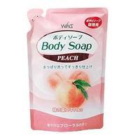Nihon Detergent Крем-мыло для тела Wins Body Soup peach с экстрактом листьев персика 550мл