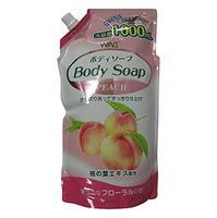 Nihon Detergent Крем-мыло для тела Wins Body Soup peach с экстрактом листьев персика мягкая упаковка 1000 мл