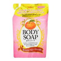Nihon Detergent крем-мыло для тела Wins Body Soup peach с экстрактом листьев персика мягкая упаковка 400 мл