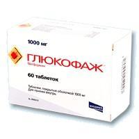 Глюкофаж таблетки 1 г, 60 шт.