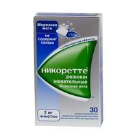 Никоретте жевательная резинка морозная мята 2 мг, 30 шт.