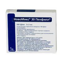 НовоМикс 30 Пенфилл картриджи 100 МЕ/мл 3 мл , 5 шт.