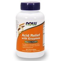 Now Acid Relief with Enzymes Антацид с энзимами таблетки для рассасывания 60 шт.