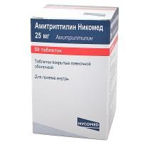 Амитриптилин никомед таб. п/о плён. 25мг №50 (флаконы темного стекла)