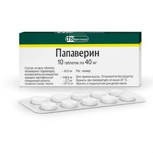 Папаверин таблетки 40 мг, 10 шт.
