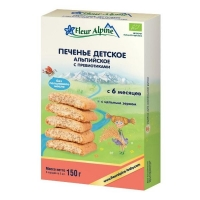 Печенье Fleur Alpine детское Органик Альпийское спребиотиками с 6 мес. 150г 1 шт.