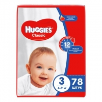 Подгузники Хаггис (Huggies) Классик размер 3 4-9кг 78шт. упак.
