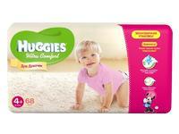 Подгузники Хаггис (Huggies) Ультра Комфорт размер 4+ 10-16кг 68шт. для девочек упак.