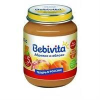 Пюре Бэбивита (Bebivita) абрикос и яблоко с витаминами с 5 мес. 100г упак.