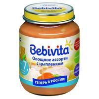 Пюре Бэбивита (Bebivita) овощное ассорти с цыпленком 7 мес. 100г упак.