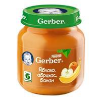 Пюре Gerber яблоко абрикос банан 6 мес. 130г упак.