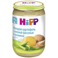 Пюре Hipp молодой картофель с зеленой фасолью и кроликом с 12 мес. 220г 1 шт.
