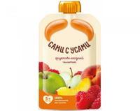 Пюре Сами с усами фруктово-ягодный салатик из яблок персика малины 5 мес. 100г пауч упак.