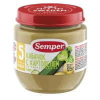 Пюре Семпер (Semper) кабачок с картофелем с 5 мес. 125г 1 шт.