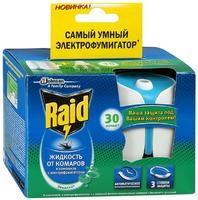 Raid фумигатор с регулятором интенсивности и таймером+жидкость 30 ночей Эвкалипт 1 уп.