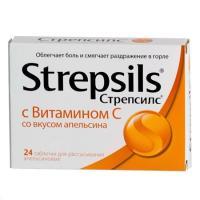 Стрепсилс с витамином с апельсин таб. д/рассас. №24