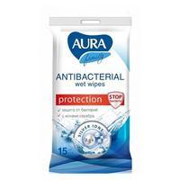 Салфетки влажные Аура с антибактериальным эффектом Family 15 шт.