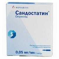 Сандостатин 0.05мг/мл р-р для в/в и п/кожн. введ. 1мл амп. х5 б м (r)