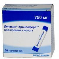 Депакин хроносфера гранулы 750 мг, 30 шт.
