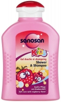 Саносан Kids Гель для душа и шампунь с ароматом малины, 200 мл