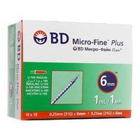 Шприц инсулиновый Микро-Файн Плюс 1 мл/U-100 0,25 мм (31G) х 6 мм 100 шт. упак.