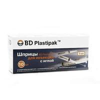 Шприц Plastipak 5 мл, игла 22G-0,7х30 мм (черный), 10 шт.