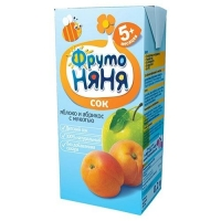 Сок ФрутоНяНя из яблок и абрикосов с мякотью 5 мес. 200г тетрапак упак.