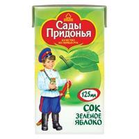 Сок Сады Придонья из зеленых яблок осветленный 4 мес. 200г тетрапак упак.