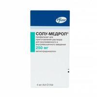 Солу-Медрол лиофилизат д/приг.р-ра для в/вен.и в/мыш. введ. 250 мг флаконы+р-рль 4 мл 1 шт.