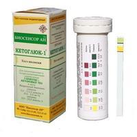 Тест-полоски Кетоглюк-1 для определения глюкозы, кетоновых тел в моче 50 шт.