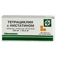 Тетрациклин с нистатином 0.1 таб. п/о х10 б