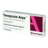 Тинидазол-Акри таблетки 0.5 г, 4 шт.