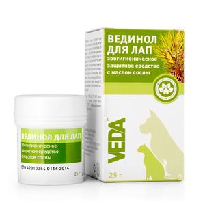 Вединол Для лап зоогигиеническое защитное средство с маслом сосны 25 г