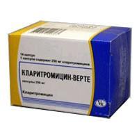 Кларитромицин-верте капсулы 250 мг, 14 шт.