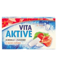 Витаактив жевательная резинка без сахара Клубника 16 г