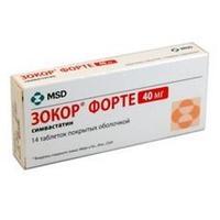 Зокор таблетки 40 мг, 14 шт.